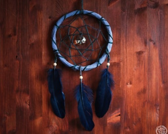 Dream Catcher - In the Dark - With Sparking Crystal and Dark Blue Feathers - Home Decor, Nursery Mobile