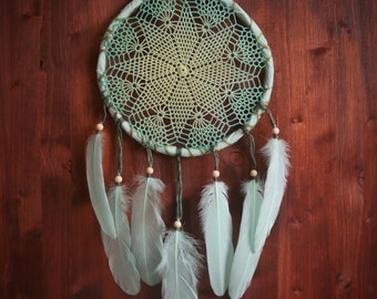 Dream Catcher - Waves - With Transitional Crochet Web and Light Mint Feathers - Home Decor, Nursery Mobile
