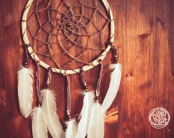 Dream Catcher - Under the Leaves - With Raw Wooden Frame, Natural Wool Yarn and White Feathers - Boho Home Decor, Nursery Mobile