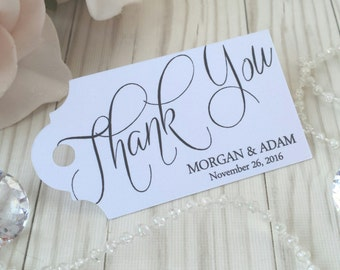 Wedding Favor Thank You Tag - Elegant Script Calligraphy - Personalized Thank You Tags For Wedding Bridal Shower and Baby Shower - WT-010
