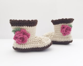 crochet baby booties, baby girl shoes, flower booties