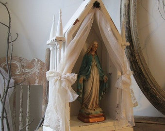 Wood display showcase with Mary statue French Nordic white wooden wall or table decor shabby cottage chic decoration anita spero design