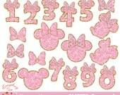 Minnie Mouse Pink Glitter Glitters Clipart Set