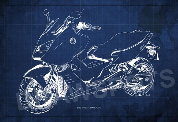 Motorcycle Poster 2013 Bmw C600 Sport Blueprint Art Print