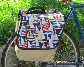 Set of two large bicycle panniers/bike bags with decorative waxed fabric