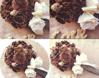 Rustic Wedding Bouquet - Bridal Bouquet - Unique Bridal Bouquet - Fall Wedding Bouquet - Pine Cone Bridal Bouquet - Alternative Bouquet