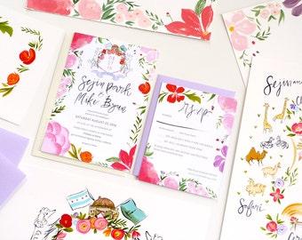 Malibu wedding map, Bright Garden pinks, red, purple custom wedding invitation, RSVP