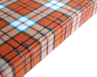 Blue and Orange Plaid Watercolor Sketchbook with Spine