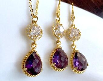 Gold amethyst purple jewelry set,gold purple necklace and earrings set,Swarovski purple crystal necklace earrings,Bridal jewelry set, gift