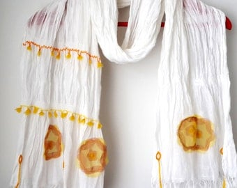 Cheery shawls,white cottonshawl,pink yellow flowers,unique gift ideas,embriodered shawl,shawl and scarf store,freeshipping,birthday gift