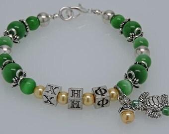 "CHI ETA PHI 8"" Beaded Bracelet with Sorority Greek Letters Green Yellow Accessory Gift"