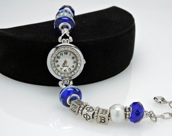 ZETA PHI BETA European Watch Bracelet Greek Sorority Blue White Accessory Gift