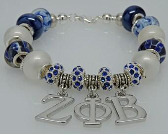 New Dangling ZETA PHI BETA European Style Sorority Bracelet Blue White