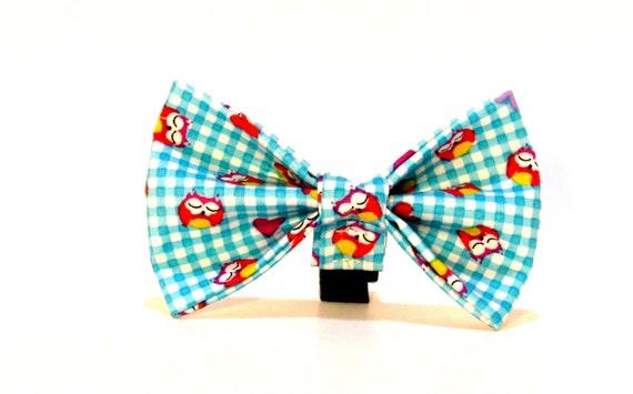 Owl Bow Tie,  Plaid Dog Bow Tie
