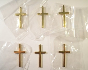 6 Polished Brass 37mm Crosses