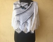 White shawl knit hand