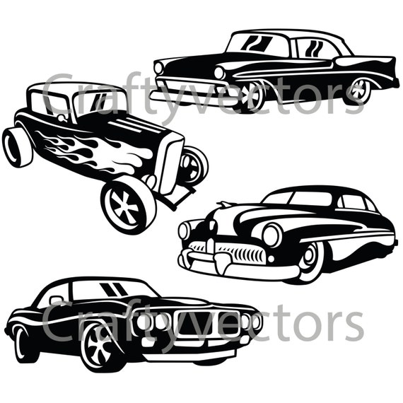 Line Art Studio Serpong : Hot rod cars svg vector files from craftyvectors on etsy