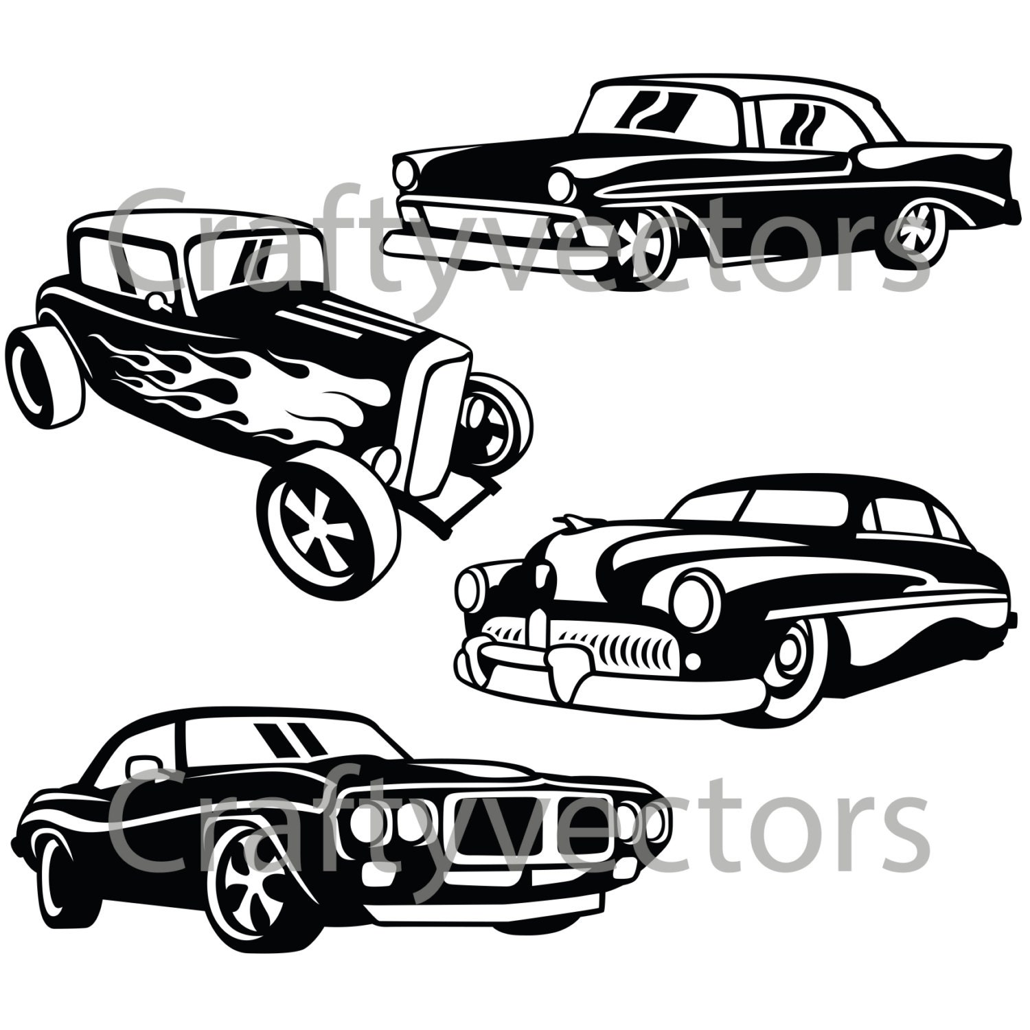 Hot Rod Cars 2 Svg Vector Files From Craftyvectors On Etsy