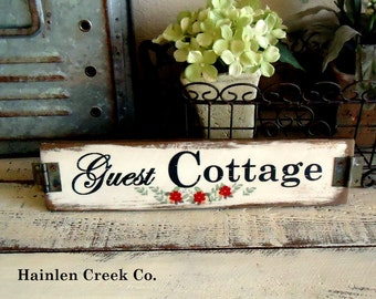 Country Rustic Vintage Aged Farmhouse Guest Cottage Sign