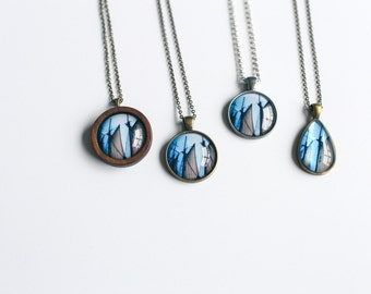 Tall Ship Photo Jewelry Necklace - Wearable Art, Historical Empire Sandy Sails Pendant Wooden Brass Silver Copper