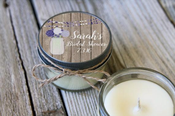 12 - 4 oz Bridal Shower Favor//Mason Jar Wood Favor//Soy Candle Favor//Personalized Bridal Shower Favor//Shower Favor//Candle Favors//