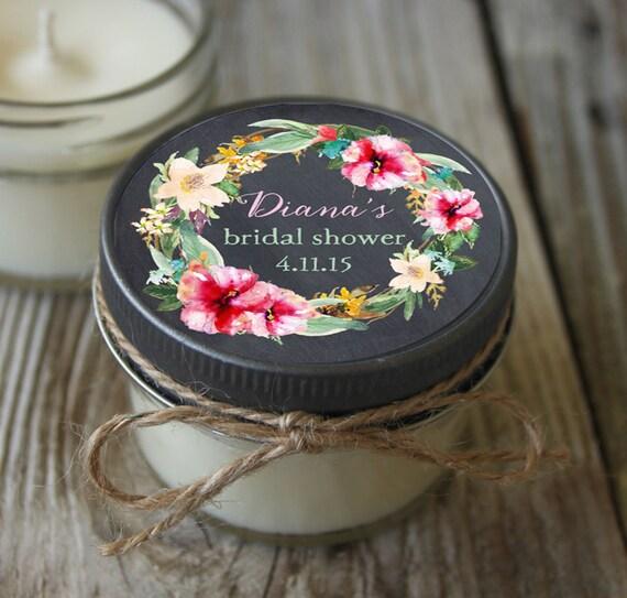 12 - 4 oz Bridal Shower Favor//Hibiscus Favor//Chalkboard//Soy Candle Favor//Personalized Wedding Favor//Shower Favor//Chalkboard Favors//