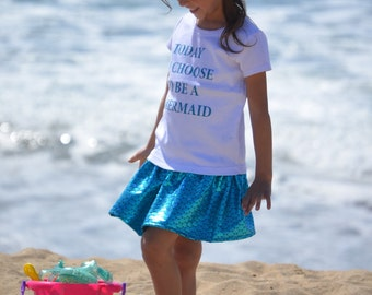 3 piece set, bow, Blue Mermaid skirt and matching tee shirt set, Birthday outfit, beach set, cute gift sizes 2, 3, 4, 5, 6
