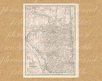 Map Of Alberta From The 1900s Canada Vintage Old Map Ancient Printable Digital 357 Prairies Province Calgary Edmonton