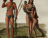 1828 Antique print of GUYANA INDIGENOUS PEOPLE. Guyana aboriginals. Nude woman. Nude man. 187 years old print