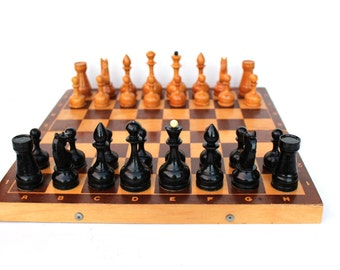 Soviet chess set Russian chess Vintage chess full set Chess game Large Soviet chess Tactical game Strategy game Wood chess board