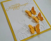 Sending Happy Thoughts blank greeting card, raised butterfly and swirl flourishes, Thinking of you, encouragement, just because, sympathy