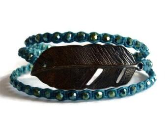 Beaded Feather Wrap Bracelet