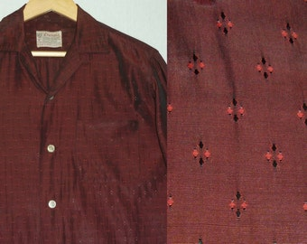 1950s Shirt / M / Stage / Rockabilly / Atomic / Shimmery / Loop Collar / Vintage 1950s Mens Shirt / Elvis / RnR / Rayon Shirt / Long Sleeve