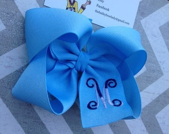 Light Blue Monogrammed Boutique Hair Bow