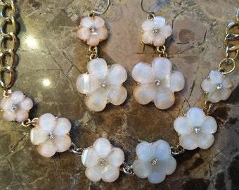 Flower Statement Necklace-Peach-One of a Kind Original-Hand Made-Designs by Stalinda