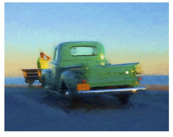 Classic Fifties Green Chevy Truck Beach Sunset Glicee Print 8x10 11x14 Korpita