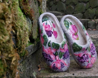 Felted Slippers - Pink Fuchsia - MADE TO ORDER