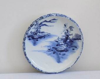 Vintage Blue and White Oriental Asian Landscape Raised Edge Plate Dish - Chinoiserie Collectible Porcelain Pottery Dish Display Piece