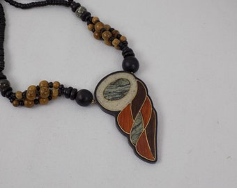 Hand Crafted Wood Beaded Necklace With Inlaid Stone and Wood Pendant - Tribal Ethnic Folk Jewelry Mid Century Boho Chic Retro Statement