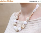 SUPER SALE Nursing mom necklace, Teething necklace, Breastfeeding Necklace with vintage lace - white, beige, natural wooden beads,organic co