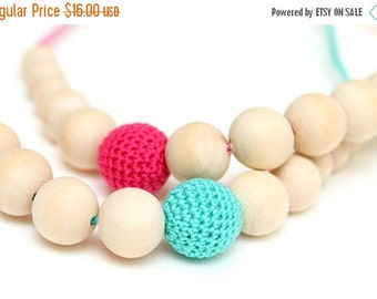SALE 25% off Asymmetric nursing necklace Organic Crochet breastfeeding necklace Wooden beads necklace with crochet bead Choose your colo