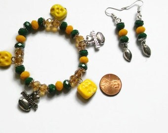 Green Bay Packers Inspired Jewelry Set, football jewelry, stocking stuffers, Cheese charms, Cheesehead, gifts for her, polymer clay charms