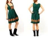 Vintage OscarTrachten Green Embroidered Dress Size 38