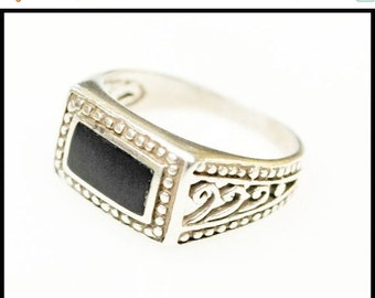 Sterling ring Silver Filigree Black rectangle Onyx size 7