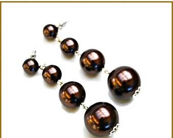 Metallic Brown faux Pearl Bead Dangle earrings