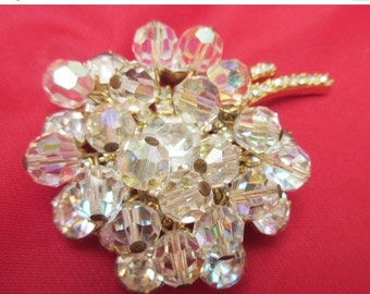 Juliana  Flower Brooch dangling  Ice clear Crystal Rhinestone D and E confirmed pin