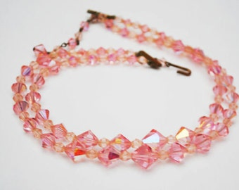 Pink Crystal Necklace - Graduated double strand - cut crystal glass beads