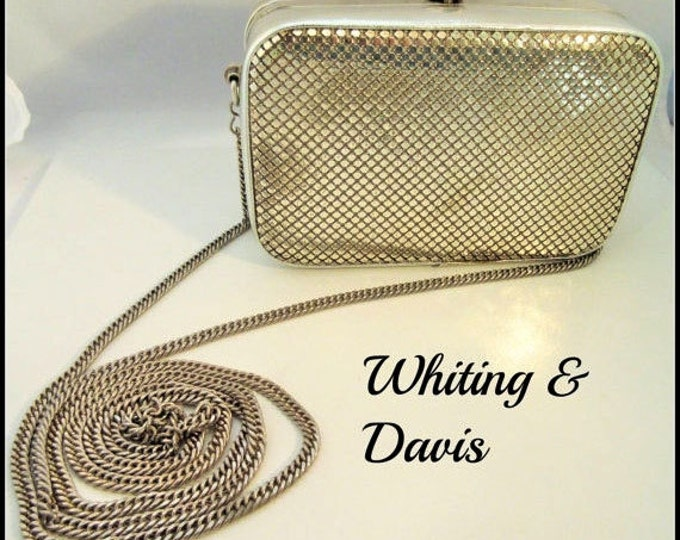 Whiting and Davis bag - Silver Mesh Evening purse - Box clutch bag -
