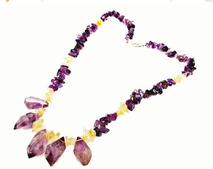 Amethyst Citrine Bead necklace nuggets amethyst and citrine yellow and purple gemstone