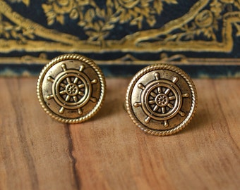 Ships Wheel Cufflinks, Nautical Cufflinks, Cufflinks for a Cruise, Sailing Cufflinks, Boating Cufflinks, Beach Wedding Cuff Links, Cruise